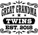 Great Grandma Twins Est. 2018 t-shirts