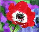 Red Poppy Low Poly Floral