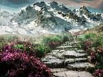 Low Poly Floral Mountain Landscape