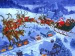 Santa Claus Sleigh Reindeer Snow