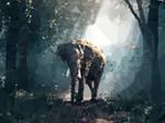 Elephant Trees Geometric Polygon Art