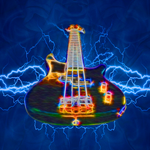 Electric Bass on Blue