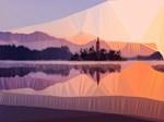 Orange Purple Low Poly Sunset