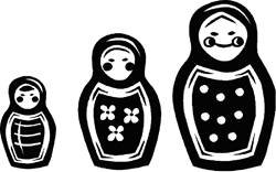 Russian Nesting dolls on a