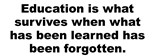 Education What Survives When What Has Been Lear
