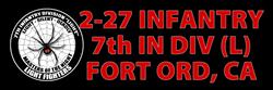 Black 2-27 Infantry Bumper Sticker