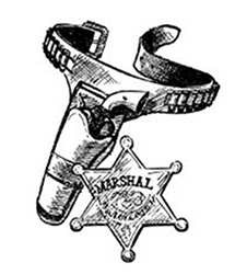 Marshal Badge & Pistol In Holder  Gifts