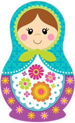 Matryoshka Girl, Blue Decal Gifts