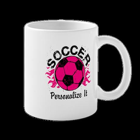 Personalized Soccer Flames Mug