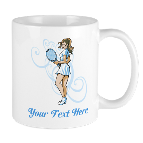 Female Tennis Player. Text. Mug