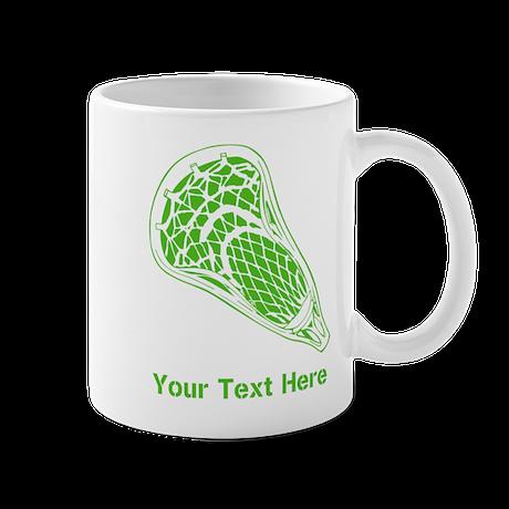 Lacrosse Crosse. Green Text. Mug
