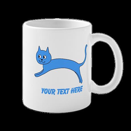 Jumping Blue Cat and Text. Mug