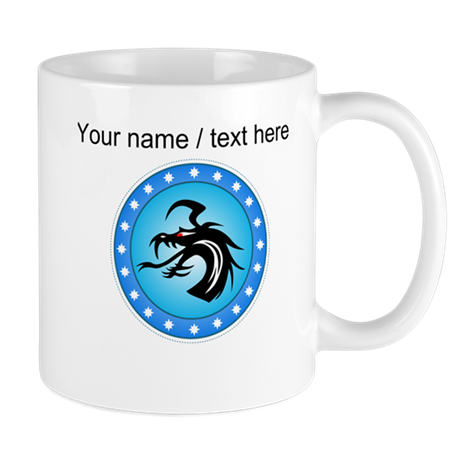 Custom Blue Round Dragon Icon Mug