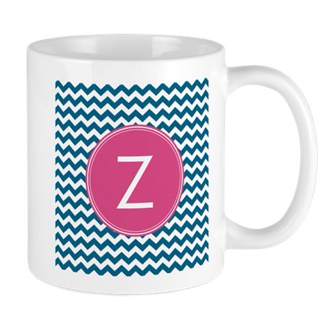 Blue Pink Monogram Mugs