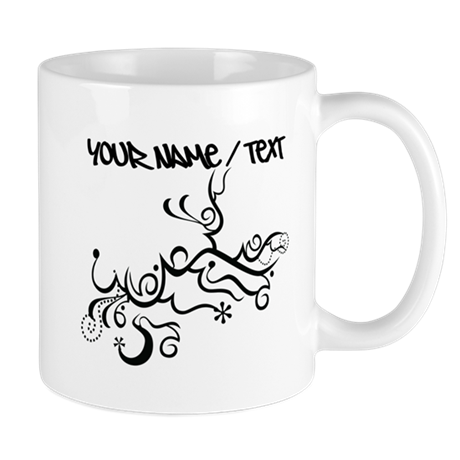 Black Abstract Vines Mugs
