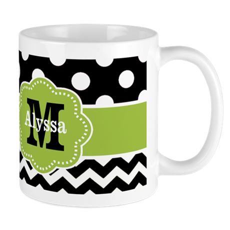 Black Green Dots Chevron Personalized Mugs