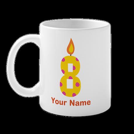 Custom 8th Birthday Candle Mug