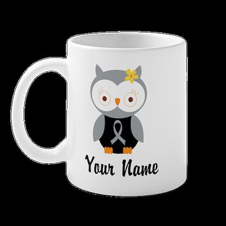 Personalized Gray Ribbon Owl Mug