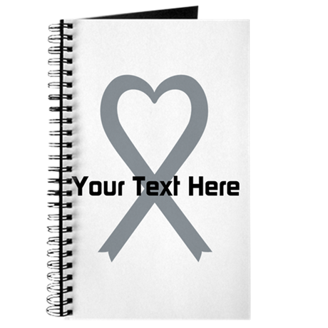 Personalized Gray Ribbon Heart Journal