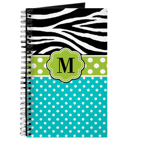 Zebra Blue Green Monogram Journal