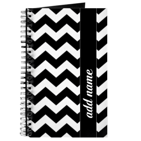 Black White Chevrons Add name Journal