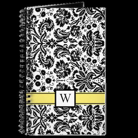 Yellow Black White Damask Monogram Journal