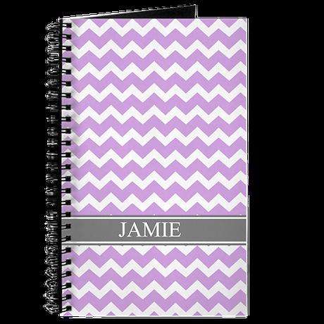 Purple Grey Chevron Custom Name Journal