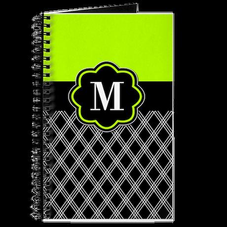 Lime Green Black Monogram Journal