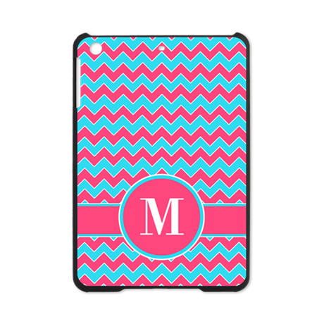 Chevron Pattern Aqua Blue and Pink iPad Mini Case