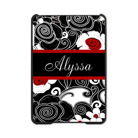 Black Red Floral Personalized iPad Mini Case