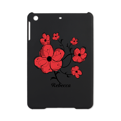 Personalized Modern Red and Black Floral Design iP