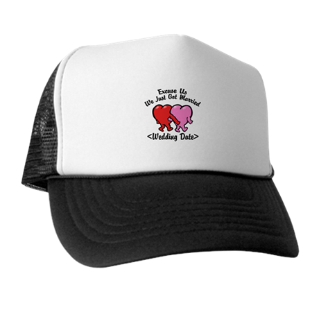Funny Just Married (Add Wedding Date) Trucker Hat