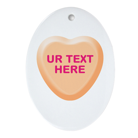 Orange Candy Heart Personalized Ornament (Oval)