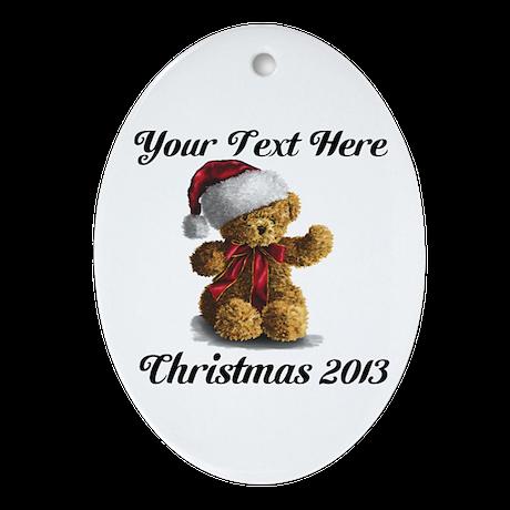 Christmas Teddy Ornament (Oval)