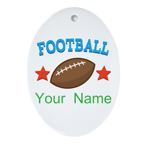 Football Personalized Star Ornament (Oval)