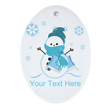 Cute Personalized Snowman Ornament (Oval)