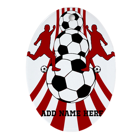 Personalized Red White Soccer Ornament (Oval)