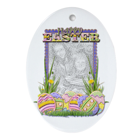 Easter Egg Cookies YOUR PHOTO Ornament (Oval)