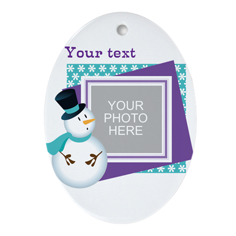 Personalized Christmas Snowman Ornament (Oval)