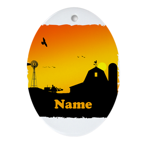 Sunrise at the Farm Ornament (Oval)