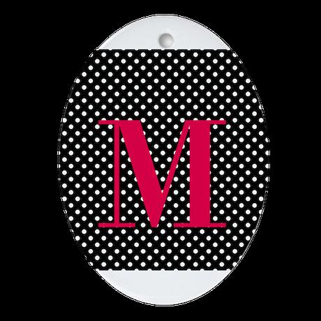 Personalizable White and Black Polka Dot Ornament