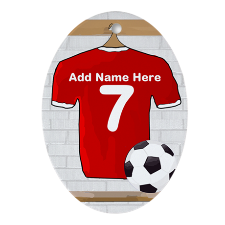 Red Customizable Soccer footb Ornament (Oval)