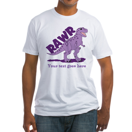 Personalized Purple Dinosaur RAWR Fitted T-Shirt
