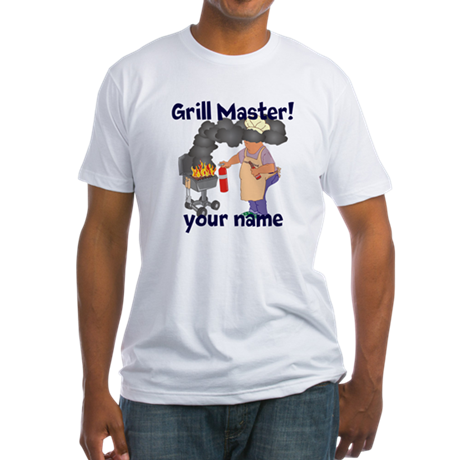 Personalized Grill Master Fitted T-Shirt