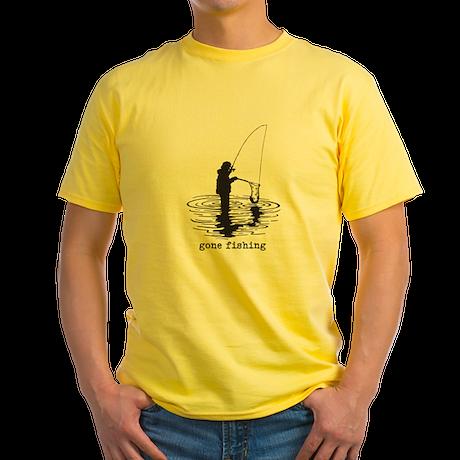 Personalized Gone Fishing Yellow T-Shirt