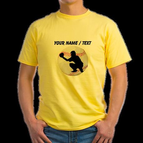 Custom Baseball Catcher Silhouette T-Shirt