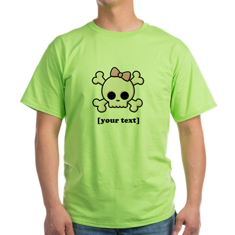 [Your text] Cute Skull Girl Green T-Shirt