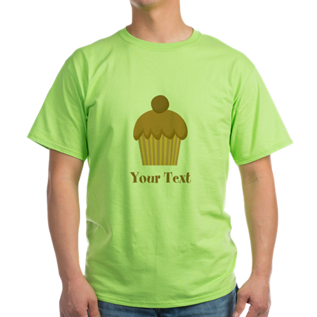 Chocolate Cupcake with Custom Text Green T-Shirt