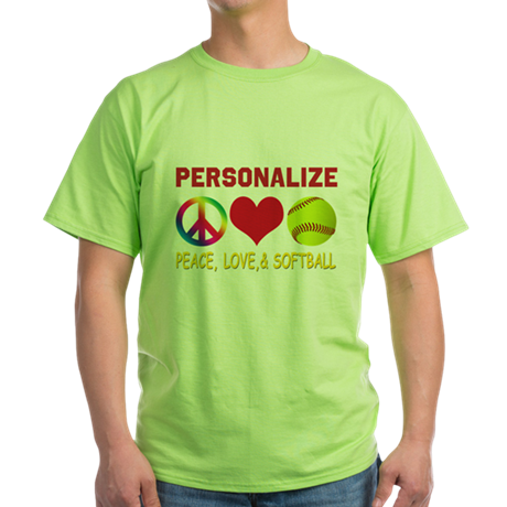 Personalize Girls Softball Green T-Shirt