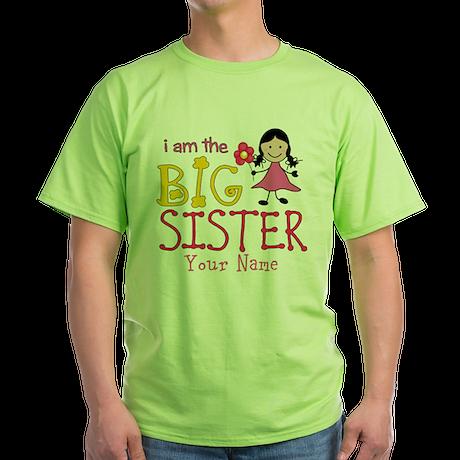 Stick Figure Flower Big Sister Green T-Shirt